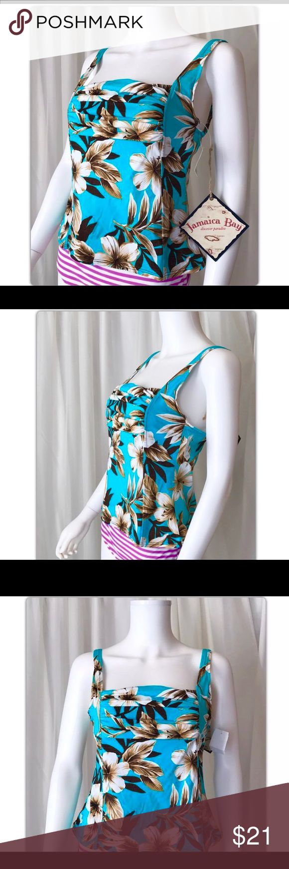 """Jamaica Bay Tankini Swim Top New with tags  Swept Away Size 14  To be confident this Top will fit you compare these measurements to a similar favorite in your closet:  Pit to pit measures 17"""" Length 21.5""""  I ship Monday through Saturday weather permitting. If you have a moment please look at my other items. Thank you. Jamaica Bay Swim"""