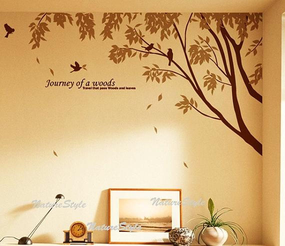 tree and bird wall mural