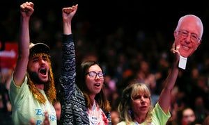 Supporters of US Senator candidate Bernie Sanders cheer at a recent speech.