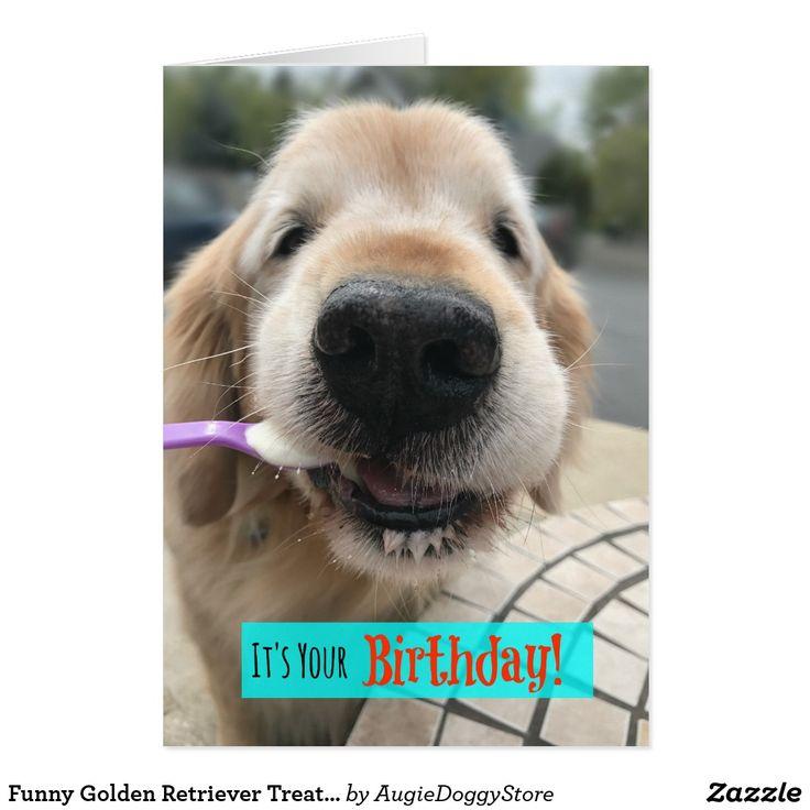 Funny Golden Retriever Treat Yo Self Birthday Card