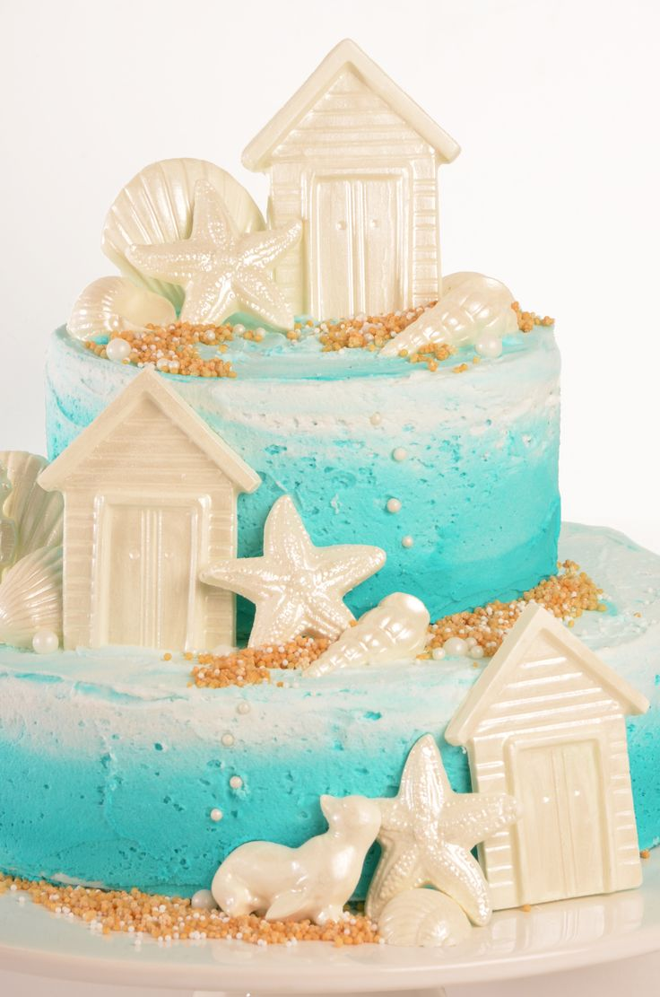 Sea Themed Cake. Made using Roberts Confectionery Vanilla Mud Cake Mix and Roberts Confectionery Chocolate Moulds.