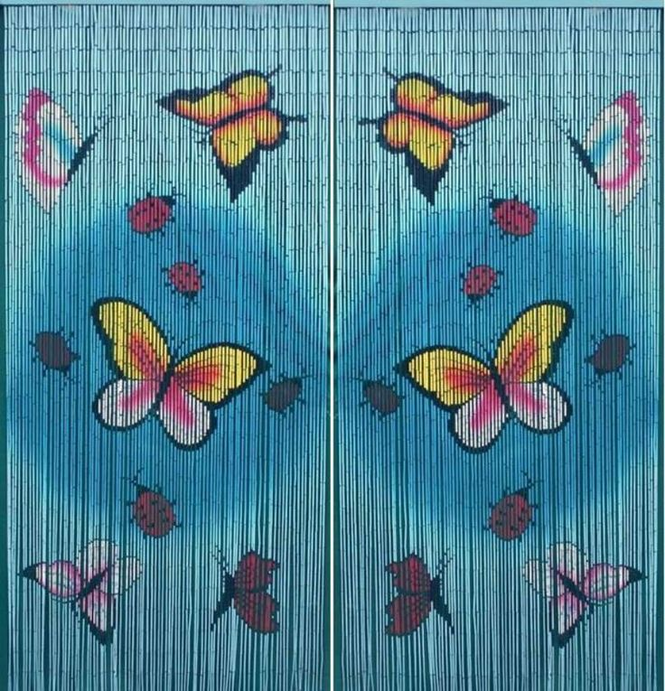 Bamboo Beaded Door Curtain-Playful Butterflies- SET OF 2 #Unbranded #Butterflies