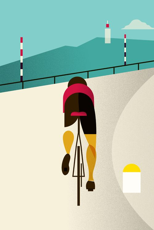 tour de france bikes >>> This is great-lovely colours and definition?  The Col is recognisable but... who's on the bike? Thanks for sharing this pin Jake Snell. MAKETRAX.net - Bicycle ART