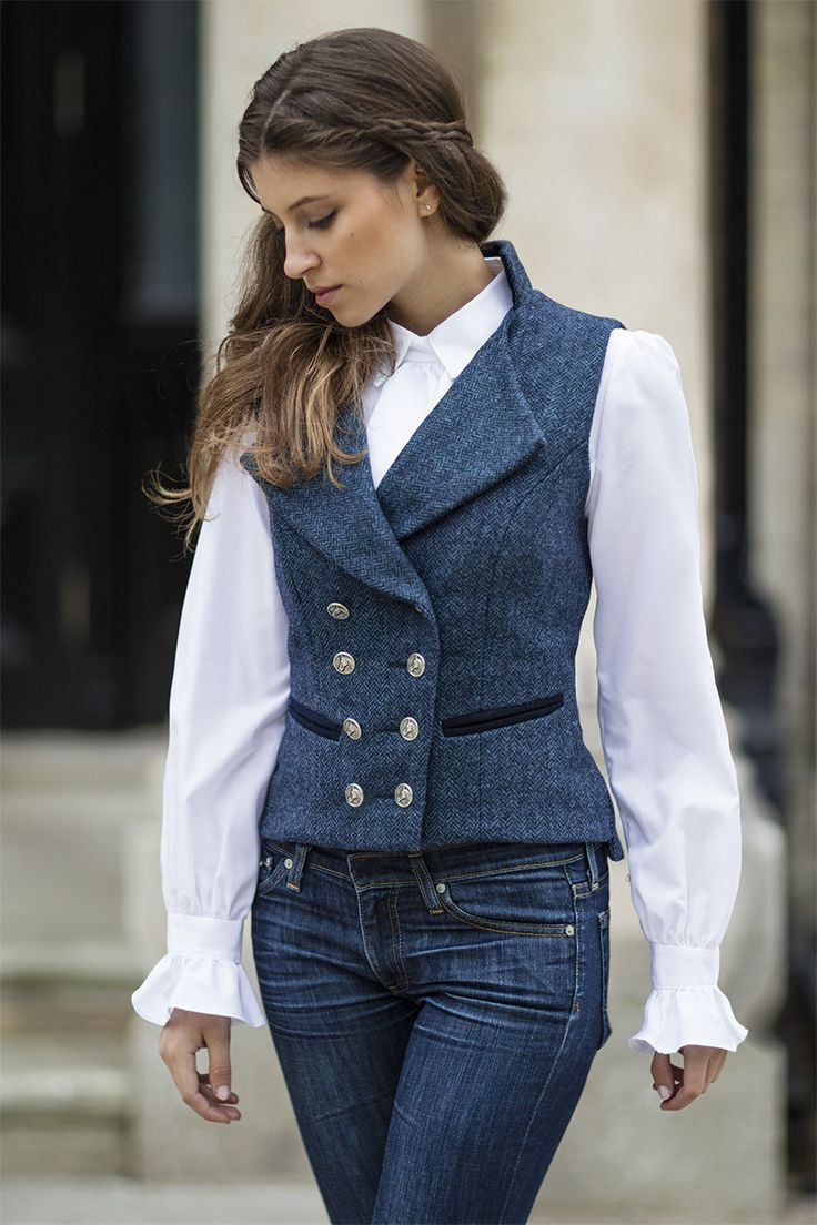 Lady's Regency Waistcoat (Lorne-Blue Tweed)