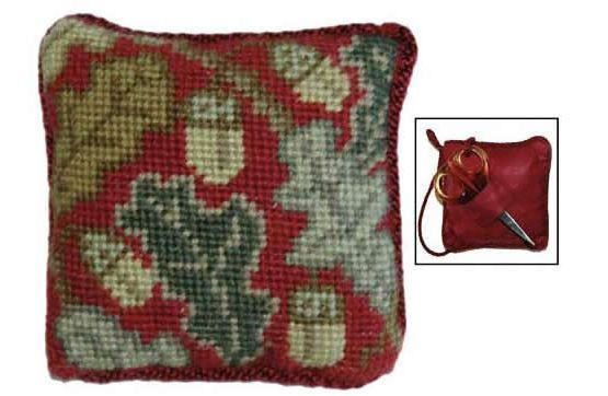 Red Acorn Pin Cushion Tapestry Kit £17.50 | Past Impressions | Cleopatra's Needle