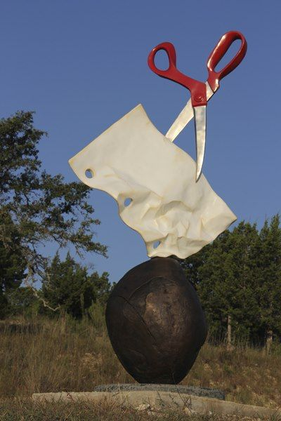 """The Benini Galleries and Sculpture Ranch (Texas)  Rock Paper Scissors by Kevin Box, from Santa Fe, now installed. The sculpture is cast stainless steel, bronze, and granite, with powder coated colors, 111"""" tall and weighs about 800 pounds. Viewable after October 5th. https://www.facebook.com/pages/The-Benini-Galleries-and-Sculpture-Ranch/24215991120?ref=stream"""