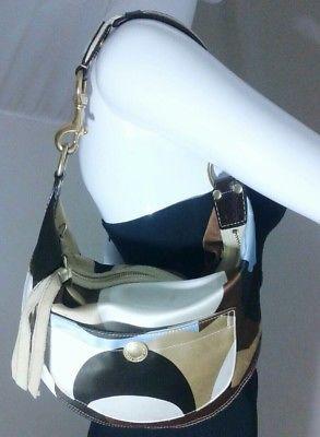 COACH Hobo Purse Multi-Colored Sateen Scarf Print Handbag 10105