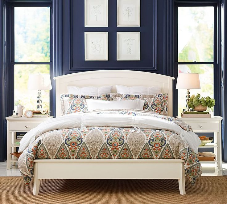 A dash of orange in this global style duvet contrasts with for Pottery barn teen paint colors