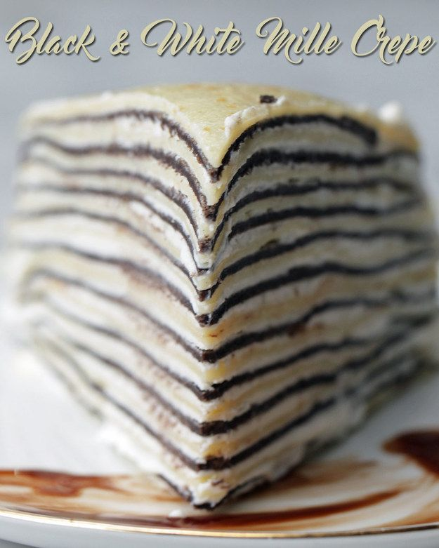 Black & White Mille Crepe but forget the whipped topping and go pastry cream. Why take the time to make homemade crepes and then ruin it with whipped topping?