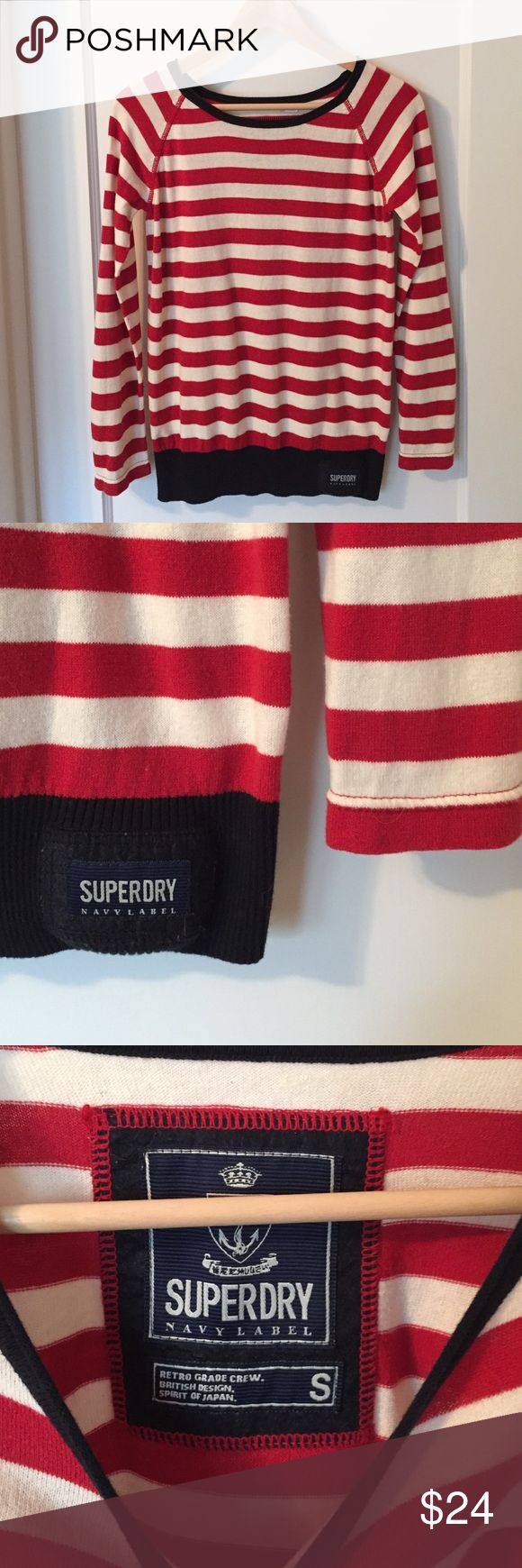 Superdry Striped Cotton Top Red and white striped top by Superdry. Super soft to the touch. 100% cotton. Superdry Tops Tees - Long Sleeve