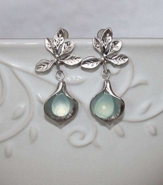 Earrings Aqua Blue Chalcedony in Silver Calla flower by NHjewel, $35.00