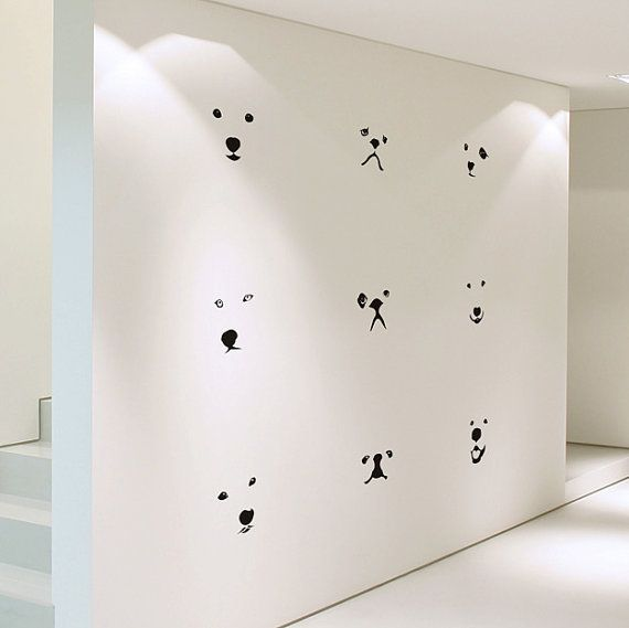 Items similar to Lovely Dog Faces Medium Size DIY Modern Wall Art Vinyl Decals Stickers for home kitchen office cafe decor kids fun unique ps-29 on Etsy
