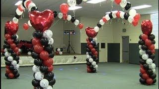 How to Build a Balloon Dance Floor - Red White Black Zebra Valentines Theme - YouTube