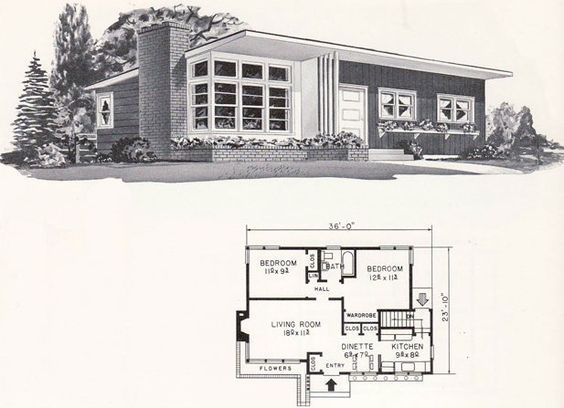1961 weyerhauser design no 4144 wrap around planter bed and mod details find this pin and more on midcentury floor plans