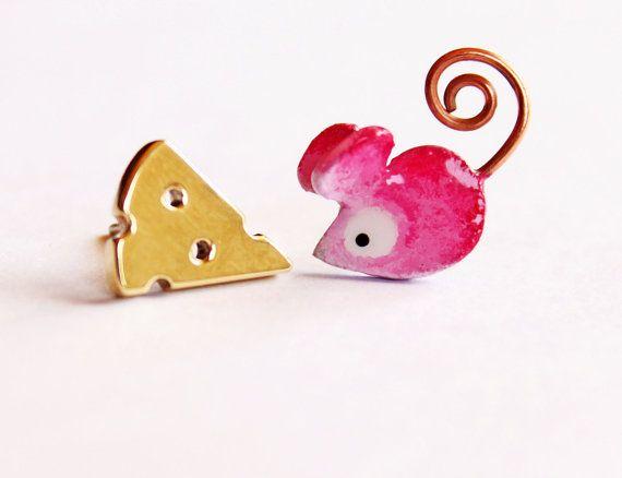 Mouse&Cheese Stud Earrings Bronze or by ZuluAndLulu on Etsy