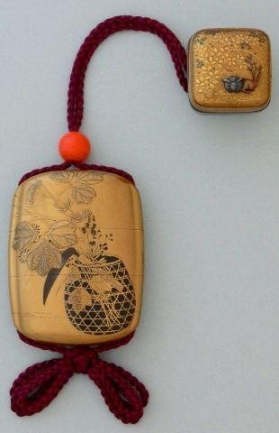 籠秋草蒔絵印籠 Maki-e lacquered Inro (Samurai's pillbox) by Zeshin Shibata, Japan