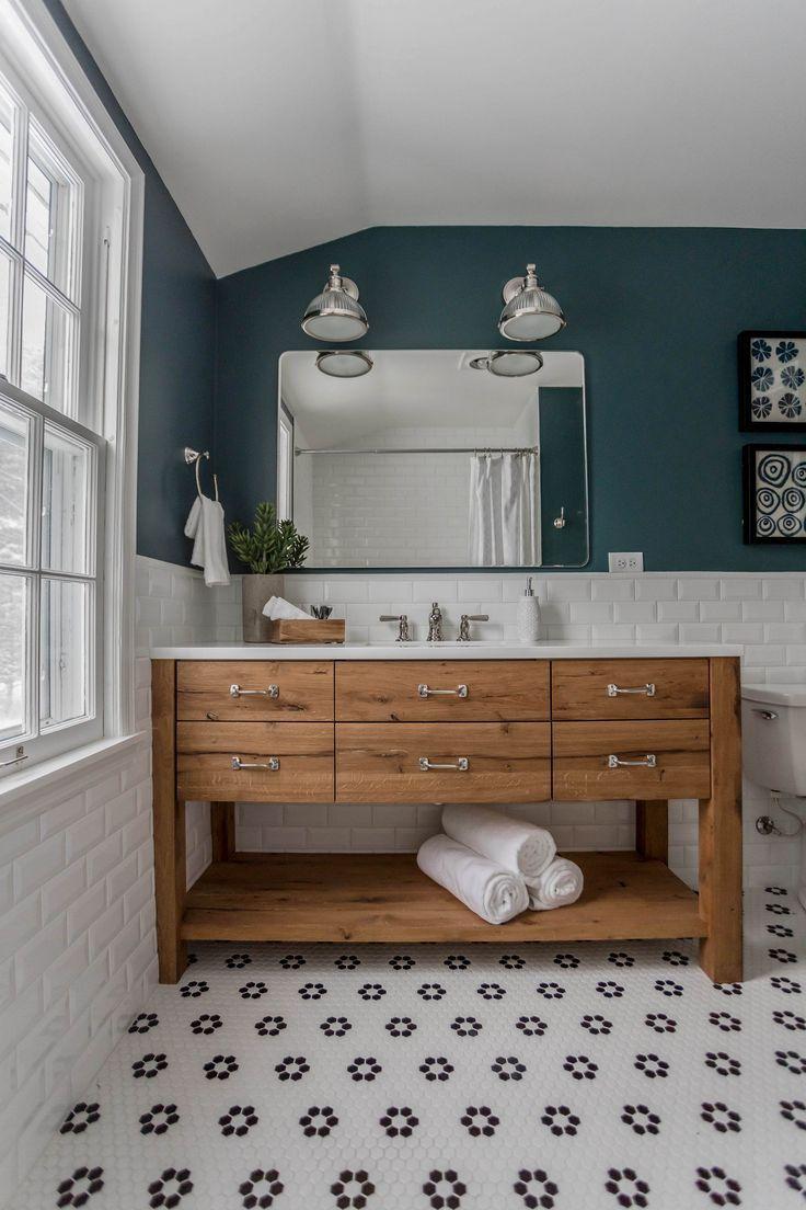 Reclaimed Wood Vanity Black And White Tile Subway Tile Dark Green Bathroom Wa In 2020 Dark Green Bathrooms Reclaimed Wood Vanity Green Bathroom