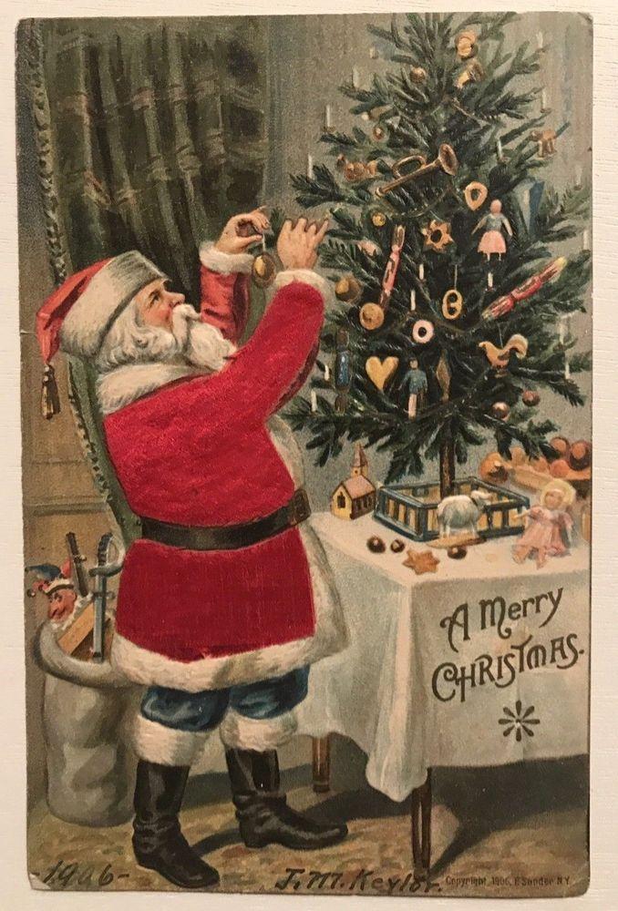 Vintage Postcard Images Instant Download 12 Vintage Victorian Santa Claus Images for Gift Cards /& Labels