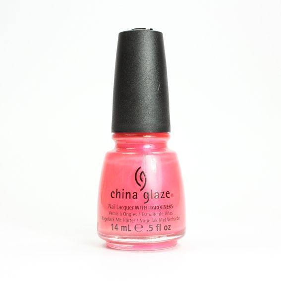 CHINA GLAZE Flirty Tankini, vernis rose corail néon irisé sur Bec et Ongles €8.50