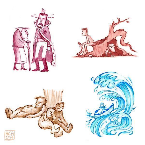 Illustraties voor het boek 'Sprookjes uit de Friese Wouden', verzameld door Dam Jaarsma. By Hilda Groenesteyn / studio Hille http://www.bornmeer.nl/winkel/sprookjes-uit-de-friese-wouden/