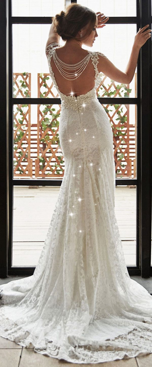 Glamorous Lace Jewel Neckline Natural Waistline Mermaid Wedding Dress With Beaded Lace Appliques