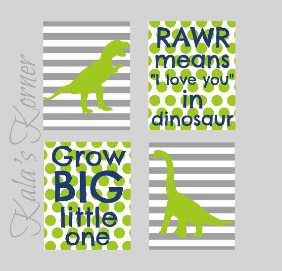 dinosaur nursery wall art decor,dinosaur print set, dinosaur playroom art, 8x10 print set, gray blue green, $36.00 Chevron instead of stripes!