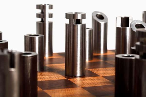Post-Modern Cylindrical Chess Sets - The Modern Chess Set by Customatic Features Faceless Pieces (GALLERY)