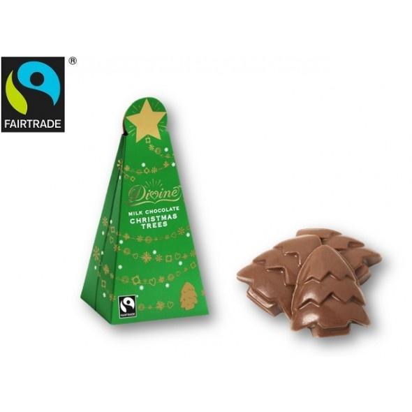 【FLOフェアトレード認証あり】 DIVINE クリスマスツリー ミルクチョコレート 100g - ガーナ産フェアトレード認証カカオなどを使った、大人気のDIVINE(ディバイン)社製、クリスマスツリー型のフェアトレード認証ミルクチョコレート!!100g入りです。