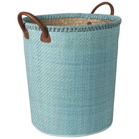 Bizzare Basket W Leather Hdl 44cm  Teal
