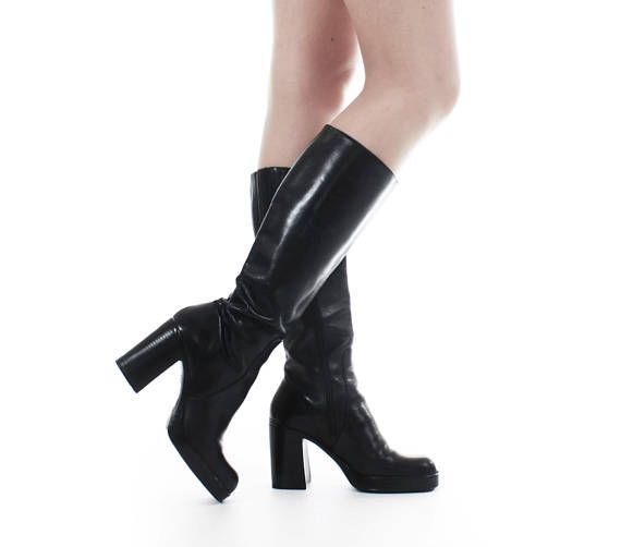 fb2320460c 90s vintage boots tall platform with chunky high heel. • Brand: DIBA •  Material: LEATHER UPPER, MAN MADE SOLE • Color: BLACK • Made in BRAZIL ...