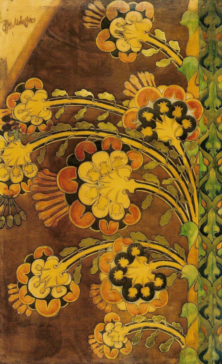 Flowers, 1901, by Józef Mehoffer (part of the Art Nouveau movement, Polish, 1869–1946). Watercolour on paper on canvas, 220 x 140cm | National Museum, Krakow