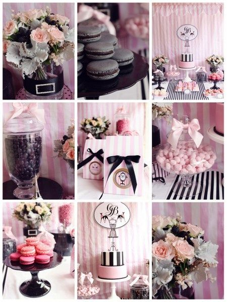 Chic Party Parisian themed black and pink   but for the baby shower instead of black use a light grey