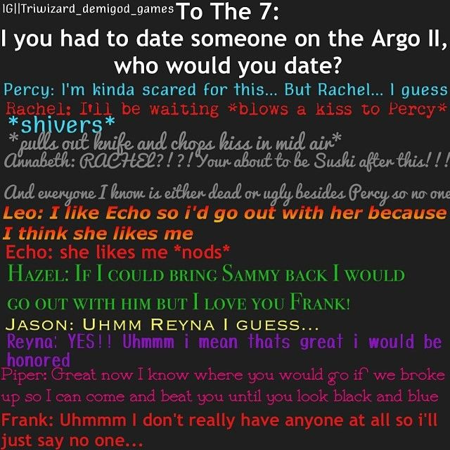 Heroes of Olympus Characters Get Asked-If you had to date someone on Argo Il Who Would It Be