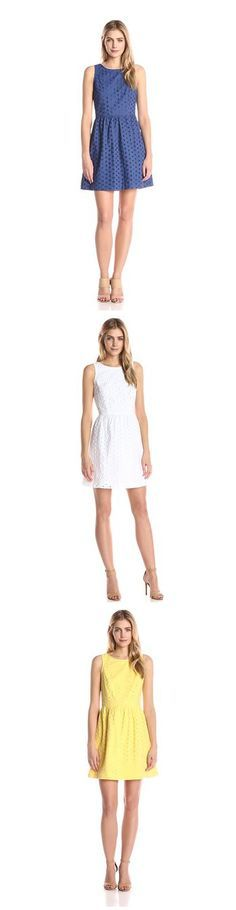 KENSIE WOMEN'S DAISY DOT EYELET DRESS---- Colors Available: Canary Yellow,Midnight Sapphire Blue and White--- 100% Cotton--- Imported--- Hand Wash--- Sleeveless--- Ideal for casual and party wear during summer/spring.--- Zipper closure--- Eyelet design----