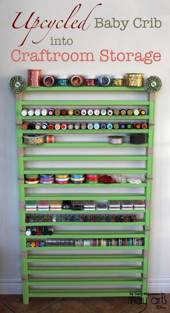 Upcycled Baby Crib into Craft Room Storage