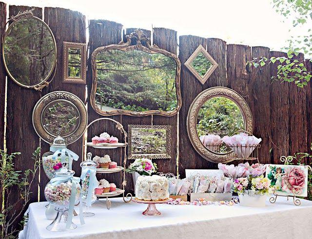 Vintage tea party dessert table.
