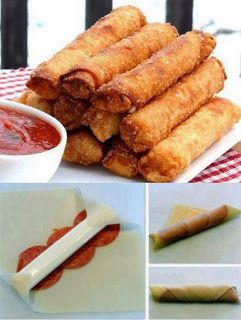 One day I'll feel adventurous enough... Easy Recipes to Do: FRIED MOZZARELLA PEPPERONI EGG ROLLS