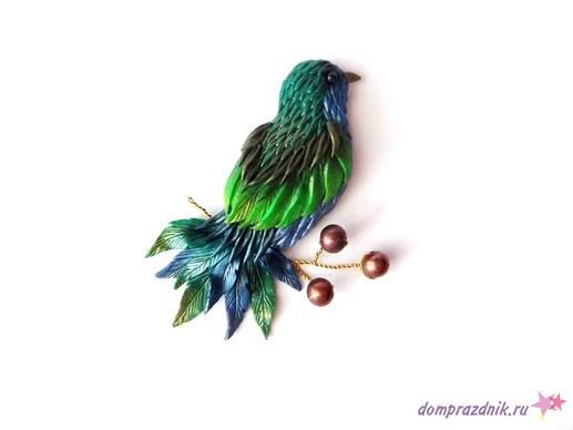 polymer clay bird brooch tutorial by domprazdnik.ru as posted by Kolika