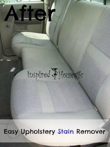 Easy Car Upholstery Stain Remover 1:1:1 ratio of Blue Dawn Dish Soap, white vinegar, and club soda