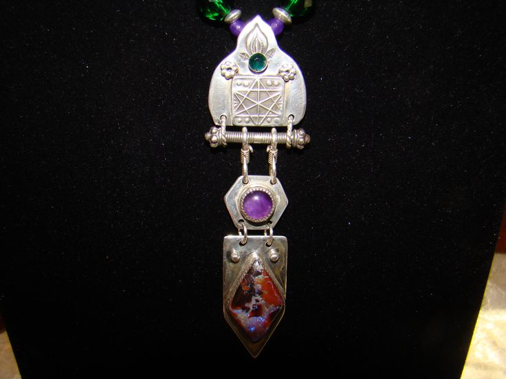 Emerald and Violet Flame Necklace, Amethyst and Opal for sale!