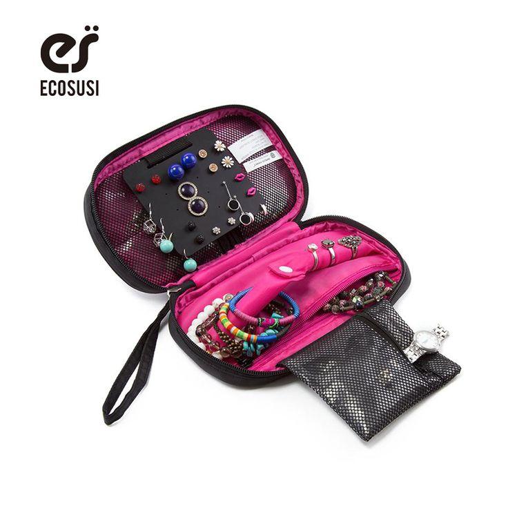 ECOSUSI Multifungsi Penyimpanan Portabel Pemegang Perhiasan Gelang Anting Kalung Cincin Pouch Organizer Travel Bag untuk Perhiasan