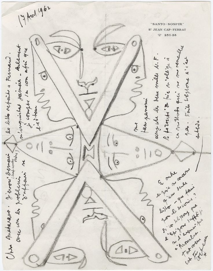 Autograph and illustrated letter signed from Jean Cocteau to gallery owner Henri Matarasso. 17 August 1962.