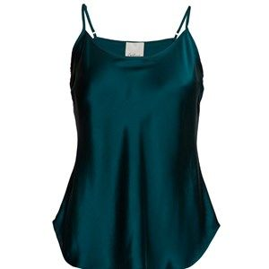 "SUST SILK Elegant camisole, bluegreen.  Exclusive and simple camisole. The camisole has adjustable straps and is super soft. Limited. Made from 100% silk in ""dead stock"", which means that it's made from residues from other collections. Because of that, the camisole is limited."