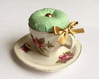 projects idea unique tea cups. has an eclectic selection of wonderful goodies  Couldn t help to share this practical tea cup pin cushion What excellent idea Buy From by etsyhunter 95 best cups and saucer crafts images on Pinterest Chandeliers