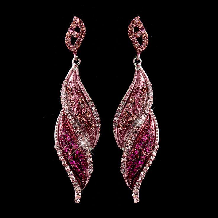 Dramatic Pink Crystal Drop Earrings