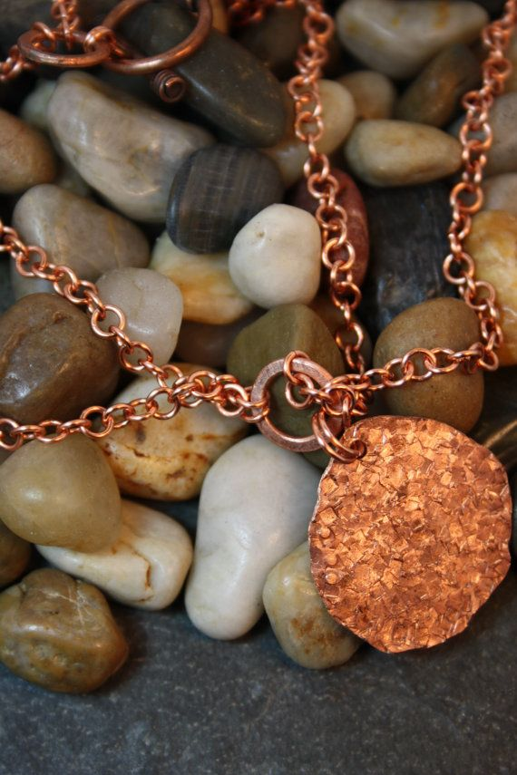 Copper Hammered Pendant on a Copper Handmade Chain UPCYCLED RECYCLED REPURPOSED on Etsy, $37.00 CAD