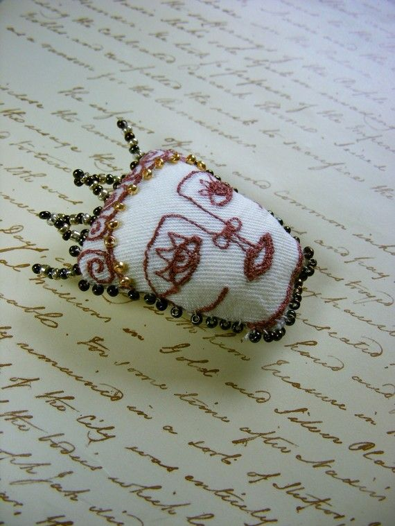Textile brooch   Handmade Tiny wearable art  Muse by The7thMagpie
