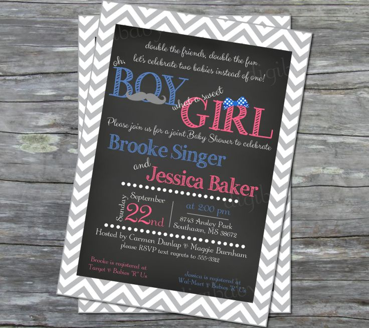 free printable camo baby shower invitations templates%0A Joint Boy and Girl Baby Shower Invitation in grey chevron chalkboard with  custom colors in printable digital files