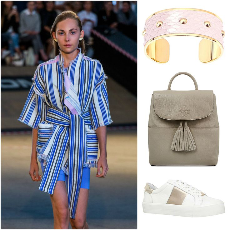 We love this weekender, market perusing look. Stay comfortable in a wrap jacket by #czechdesigner @JakubPolanka, trainers by #Carvel , a funky cuff by #AspinalofLondon and a #ToryBurch backpack to haul around your found treasures.