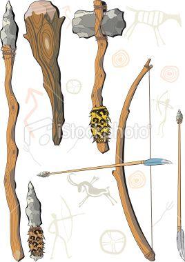 Dit zijn de wapens van de jagers. Hoe heet het wapen naast de speer?